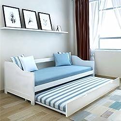 Tidyard Lit Gigogne/Canapé-lit de Jour/Lit Fonctionnel en Bois de Pin Blanc 200 x 90 cm (Matelas Non Inclus)