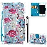 iPhone 5/iPhone 5S/iPhone SE Hülle Flamingo 3D,BtDuck Ultra Slim Dünn Weich Tasche Brieftasche Bunt Niedlich Flamingo Muster Weich Silikon Back Cover Schutzhülle für iPhone 5/iPhone 5S/iPhone SE - #4