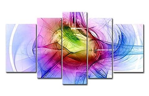 Impression sur toile Décoration murale Image pour Home Decor coloré courbes 5pièces peintures moderne giclée tendue et encadrée illustrations à l'huile d'images à la abstraite Impressions Photo sur toile