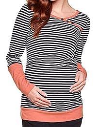 Yefree Ropa de Maternidad de Maternidad con Rayas de Rayas Mujeres Embarazadas Que amamantan Sudadera con Capucha Camiseta