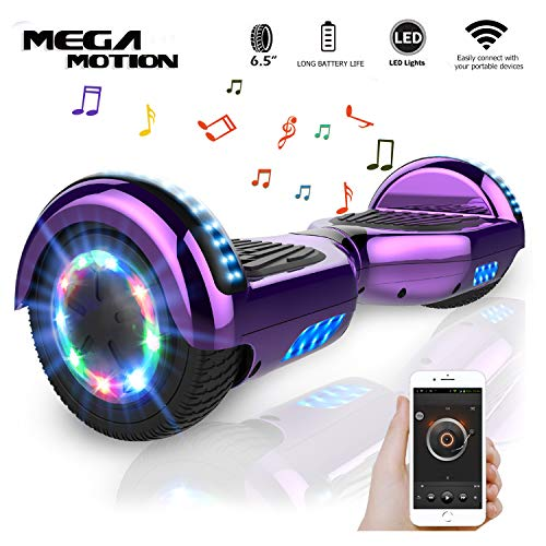 "Mega Motion Self Balance Scooter 6,5"" - 2018 Elektro Scooter E-Skateboard - Scooter - UL zertifizierten 2272 LED - Räder mit LED Licht -Bluetooth Lautsprecher - 700W Motor"