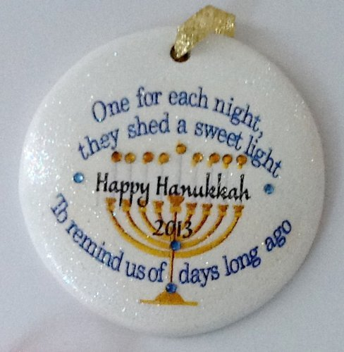 Laurie G Creations Menorah One for Each Night 2018 They Shed a Sweet Light to Remind Us of Days Long Ago Hanukkah Porzellan-Ornament