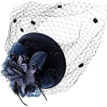 Fascinadores Sombreros Sombrero sin ala Usar sombrero británico Jugador de bolos Sombrero Flor Velo Boda Sombrero Té Fiesta Sombrero