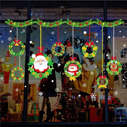 Frohe Weihnachten Weihnachtsmann Schneemann Kranz Wandtattoos Schlafzimmer Fenster Wohnkultur Neue Jahr Wandtattoos Pvc Wandbild Kunst 45 * 60 Cm