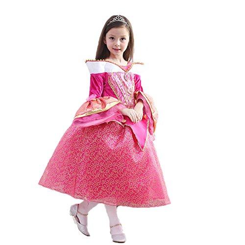 Fanryn Kleine Mädchen Prinzessin Kostüm Kleid Puffärmeln,Cosplay Halloween Geburtstag Party Kleid Fancy Kleid Mädchen Kinder Kleid Halloween (Kostüm Huhn Tanz)