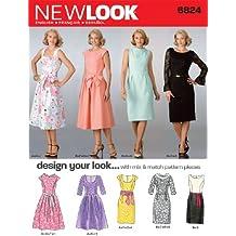 New Look 6824 - Patrón para vestido (talla A: 38 a 48)