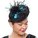 Coucoland Feder Fascinators Hut Damen 1920s Stirnband Elegant Fascinator Feder Haarreif Cocktail Tee Party Great Gatsby Party Damen Fasching Kostüm Accessoires (See Blau)