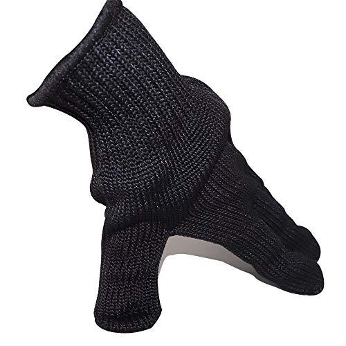 LSX Schnittschutzhandschuhe, 5 Grade Wire Mehrzweck-Schutzhandschuhe zur Selbstverteidigung, Anti-Schneid-Anti-Verschleiß-Anti-Säure-Alkali-Anti-Mikrowellen-Anti-Statik- (schwarz)
