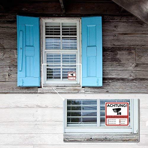 Achtung Videoüberwachung Premium Aufkleber Schild Sticker Hinweisschild Warnschild Für Mit Kamera Videoüberwachtes Objekt Haus Gelände