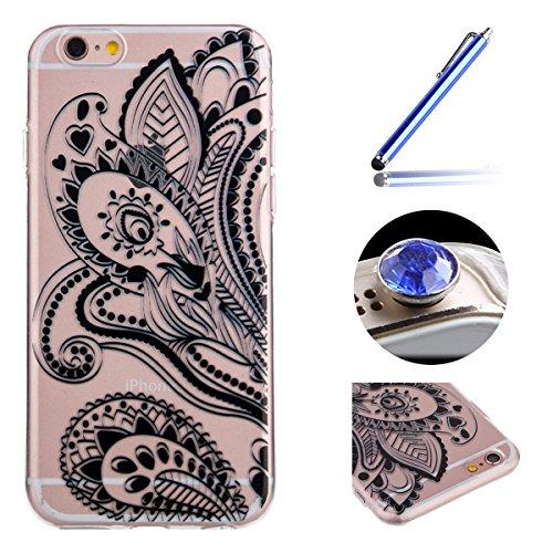 [iPhone 5/5S/SE]Transparent TPU Coque étui,Etsue iPhone 5/5S/SE Unique la Conception de l'perles fil Chaud Bronzing Design Housse de Téléphone, Silicone Mince Souple Soft Protecteur Coque Housse Case  côté côté