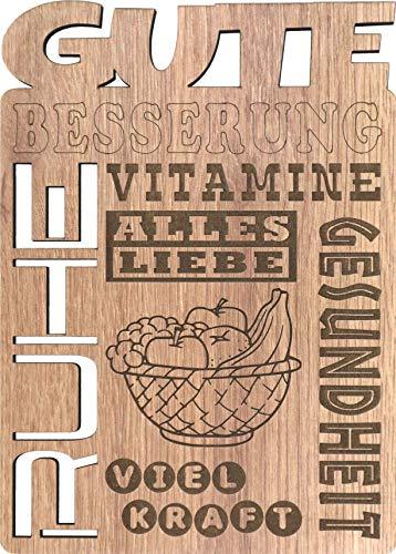 Glückwunschkarte aus Holz (Laminat), um jemandem Gute Besserung zu wünschen - Einzigartige Holzkarte, um jemandem, der krank ist, Gute Besserung und Gesundheit zu wünschen - NILUBI