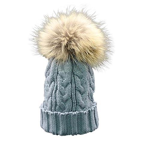 Longra Kleinkind Baby Winter Häkelarbeithut Pelz Wolle Strickmütze warme Mütze (Grau) (24 Satz Box)