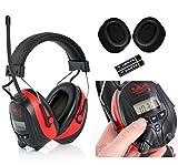 SKS 1180 Digital mit Radio FM/AM Kapselgehörschutz, Kopfhörer + MP3 Anschluss, rot / schwarz + Batterien, Hygienesatz und Audiokabel für MP3