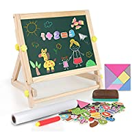 BeebeeRun Wooden Art Easel for Kids Children,Foldable Double-Sided Magnetic Drawing Board with Paper Roll,Magnetic Letters and Nmbers,Wooden Jigsaw Puzzles,Gifts for 2 3 4 5 6 Years Boys Girls