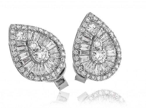 2CT certificado g/VS2 Baguette y corte brillante Redondo con forma de pera pendientes de diamante de lujo en 18 K oro blanco