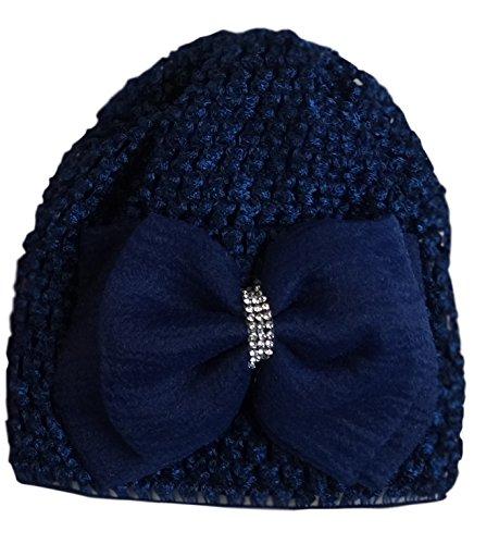 Jessidress Luxus Baby Mützen Baby Hüte Stirnbänder Haarblumen Blume Babymütze Dunkel Blau