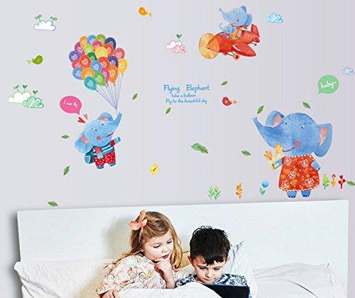 Skyllc® Hermosa etiqueta de la pared del globo del elefante de los niños de edad preescolar infantiles pegatinas de pared decorativos