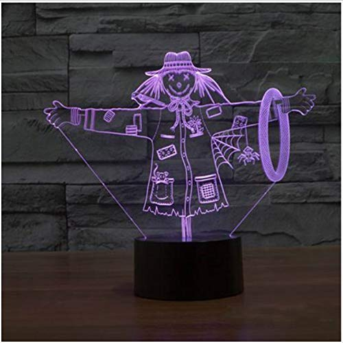Illusion Lampe Schöne Vogelscheuche 3D Lampe Mädchen Hut Modell Illusion 3D Lampe Led 7 Farbwechsel Usb Touch Dekorative Beleuchtung Geschenk Für Kinder