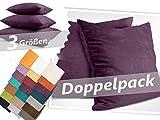 Kissenhüllen in Wildleder-Optik - angenehm weich & überaus robust - in 21 fantastischen Farben und 3 Größen (14 Farben in 60 x 60 cm), Doppelpack Kissenhüllen 50 x 50 cm, pflaume