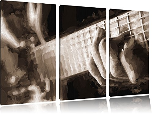 Gitarre-spielen-Pinsel-Effekt-3-Teiler-Leinwandbild-120x80-Bild-auf-Leinwand-XXL-riesige-Bilder-fertig-gerahmt-mit-Keilrahmen-Kunstdruck-auf-Wandbild-mit-Rahmen-gnstiger-als-Gemlde-oder-lbild-kein-Pos