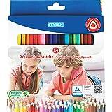 Stylex 26004 Dreikant-Buntstifte, 24 holzfreie und lackierte Farbstifte im Kartonetui, Mehrfarbig