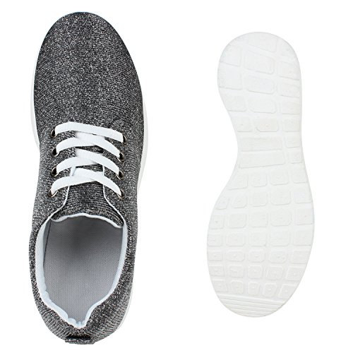 Damen Herren Sneaker Sportschuhe schwarz Turnschuhe Runners mit Blumen Print in mehreren Farben Silber Glitzer