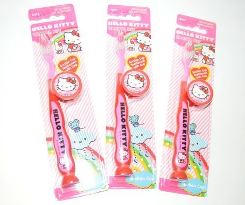 Hello Kitty Travel Kit Suction Cub Toothbrush with Cap Pack of 3 by Dr. Fresh (Hello Kitty Travel Kit)