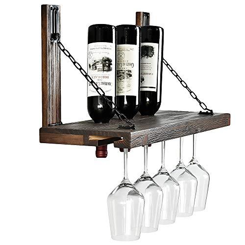 Welland Karen Weinregal, Wandmontage, mit Glashalter, schwimmendes Weinregal und Glasregal, Set für Zuhause und Küche, rustikales Kiefernholz