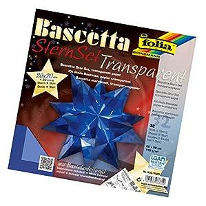 Folia 836/2020  Bascetta - Set de papeles transparentes de 20 x 20 cm para construcción de estrellas (32 hojas) color azul Importado de Alemania