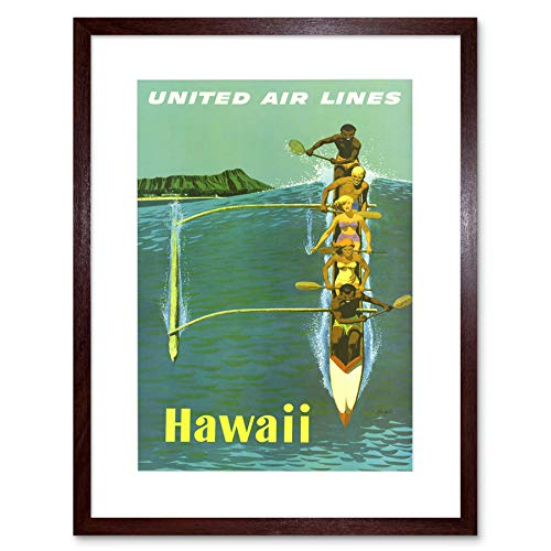 Hawaii United Airlines (TRAVEL UNITED AIRLINE CANOE HAWAII PACIFIC VINTAGE ADVERT FRAMED PRINT B12X1749)