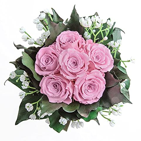 Blumenstrauß mit exklusiven, konservierten langhaltenden Rosen Brautstrauß für Hochzeit und Heirat von ROSEMARIE SCHULZ GmbH Heidelberg (6 Rosen, Rosa)