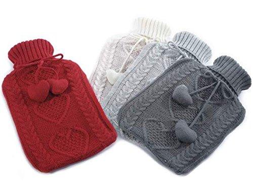 4 Borse acqua calda 2L c/cuori e rivestimento a maglia