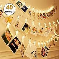40 LEDs Foto Peg Clip Guirnaldas luminosas, SiFar 3 modos Photo Light Chain blanco cálido con pilas, para fotos, obras de arte, fiesta, Navidad, decoración