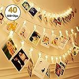 40 LEDs Foto Clips Lichterketten Warmweiß, SiFar 6.6M 3 Modi Fotolichterkette Mit Batteriebetriebene, Für Foto Memos, Kunstwerke, Party, Weihnachten, Dekoration,Hochzeit
