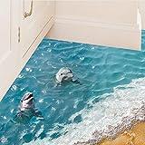 Zantec 3D blauer Meer Fußboden Aufkleber Strand Wand Aufkleber wasserdichte entfernbare Wandabziehbilder für Hauptdekoration