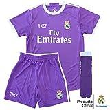 Conjunto Equipación Réplica Oficial Real Madrid Niño 2ª Equipación Temporada 16/17 (Talla 8)