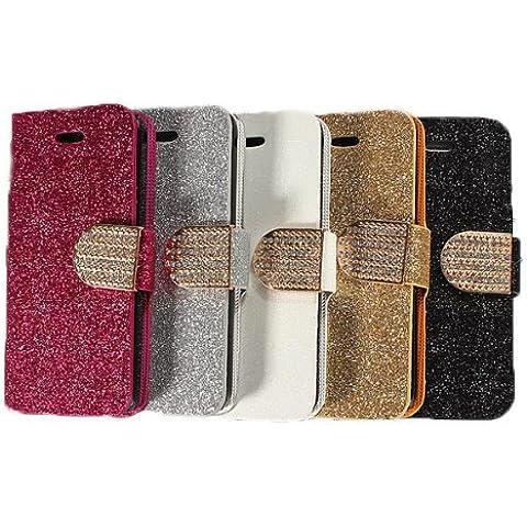 Bling caso de la tarjeta soporte de la carpeta de cuero magnética del tirón para el iPhone 5C.