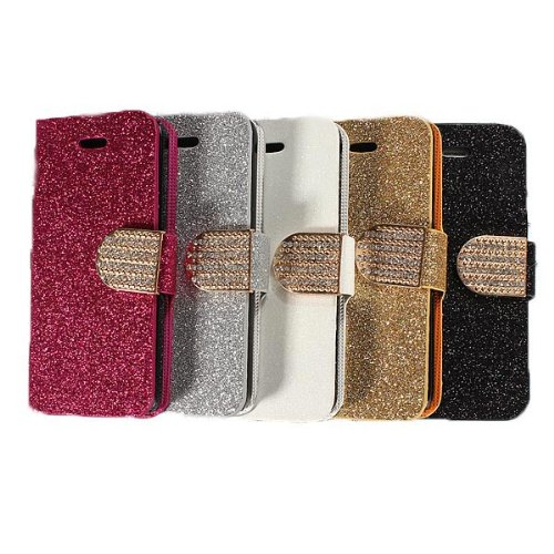 Bling flip Case Magnetic Stand Leather Wallet Card pour iPhone 5C rose rouge