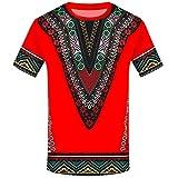 TIFIY Homme T-Shirt Afrique Ethnique Culture Impression Manches Courtes Chemise (Rouge,S)