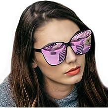 LVIOE Gafas de sol estilo ojo de gato extragrandes con lentes de protección  100% UV 72c6bf3f86f1