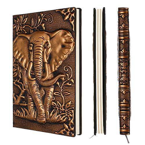 BSTKEY PU Leder schreiben Notebook Travel Journal 3D geprägt Notizblock - Vintage gefüttert Seite gelb weißes Papier Notebook, Verwendung als Tagebuch, Tagesplaner (A5, Kupfer Elefant) - Schreiben Journal Gefüttert