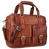STILORD 'Vitus' Ledertasche Männer Frauen braun tragbar als Vintage Umhängetasche große Handtasche mit 15.6 Zoll Laptopfach ideal als College Bag Bürotasche Aktentasche, Farbe:cognac - braun