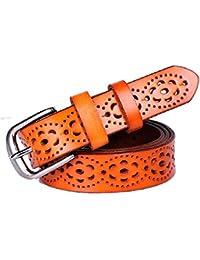 MIAOMIAOWANG Correa de Cintura del Vestido de Las señoras Cinturón de Cuero  de Cuero Genuino Hueco 81197d711f53
