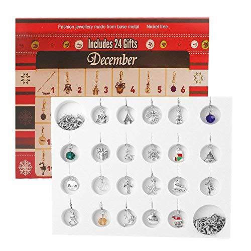 Coogam Cuenta atrás de Adviento Calendario de Navidad 2018 Mujeres Niñas Joyería DIY Pulsera Collar 22 Encanto Colección Set