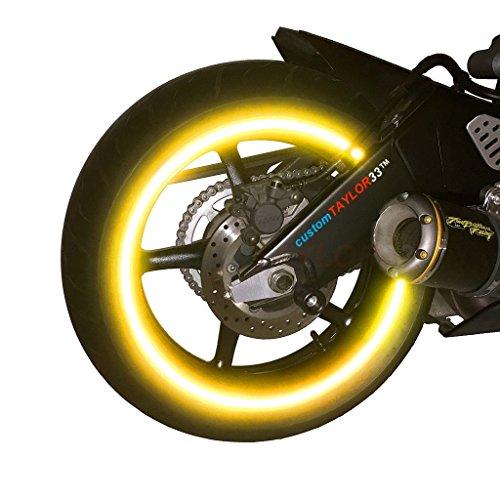 customTAYLOR33 (Tutti I Veicoli Nastri Catarinfrangenti per Cerchione Ad Alta Intensità Gialle/Oro 17' (Diametro del Cerchio per La Maggior Parte Motociclette Sportive)