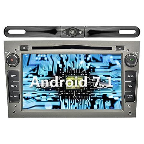 YINUO 7 pouces 2 Din Android 7.1.1 Nougat 2GB RAM Quad Core écran tactile Autoradio Lecteur de DVD GPS Navigation avec Bluetooth support DAB OBD2 WiFi pour OPEL Vauxhall Astra (2004-2009)/ Antara (2006-2011)/Vectra (2005-2008) /Corsa (2006-2010) / Zafira (2006-2010) / Meriva (2006-2008) /Vivaro (2006-2010) Gris (Autoradio avec Caméra arrière 5)