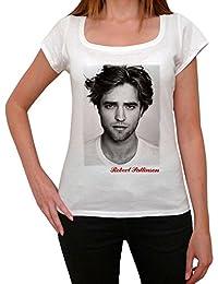 Robert Pattinson, tee shirt femme, imprimé célébrité,Blanc, t shirt femme,cadeau