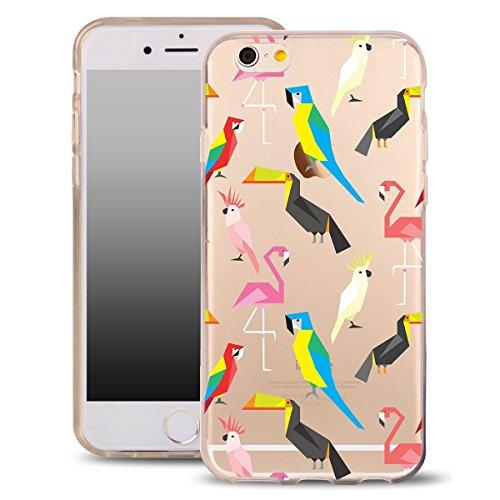 Blitz® MASKE Schutz Hülle Transparent TPU Cartoon Comic iPhone fliegende Eulen iPhone 6 6s exotische Vögel