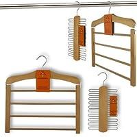 HANGERWORLD Combo Pack Natural Wooden Non Slip Trouser Tier Hanger with Wooden Tie Rack