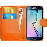 GizzmoHeaven Samsung Galaxy S6 Edge Leather Case Flip Wallet Cover for Samsung Galaxy S6 Edge (SM-G925) with Screen Protector and Stylus Pen - Orange